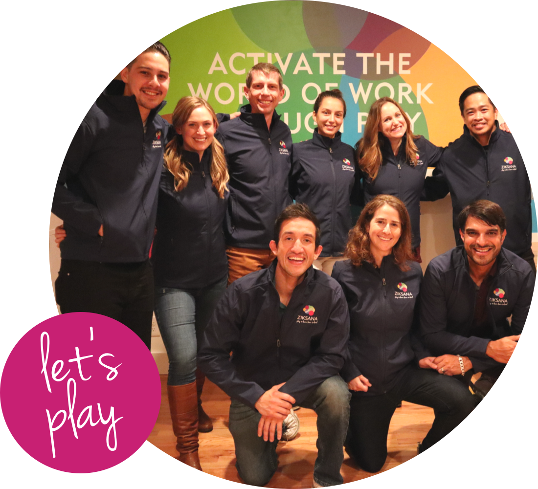 Ziksana team photo with a pink circle in the corner saying 'let's play'