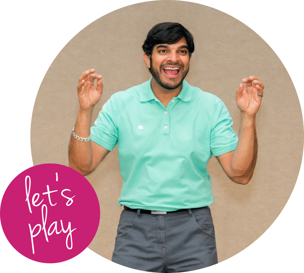 Ziksana's founder, Akshay, smiling with 'let's play' in a bubble in the left corner.