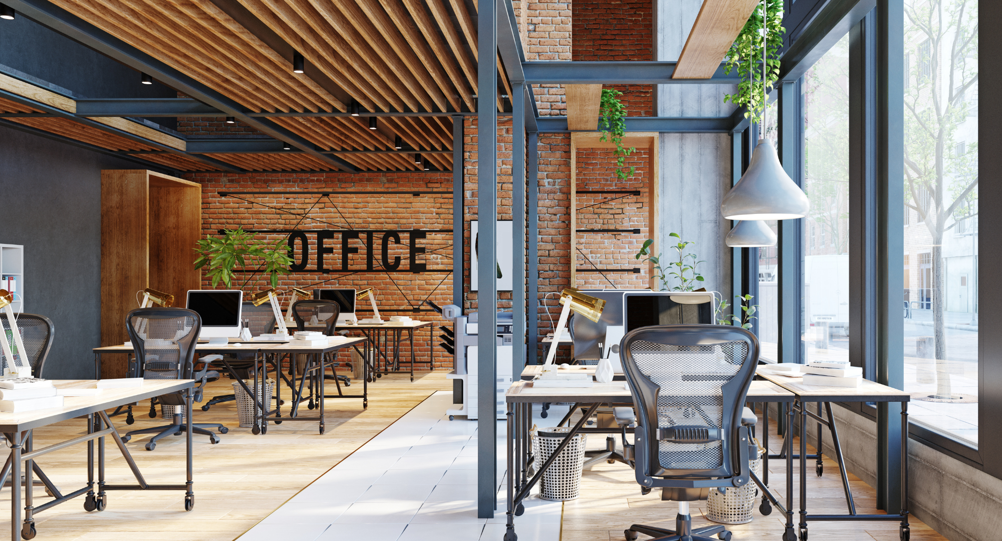 Bright and chic office space.