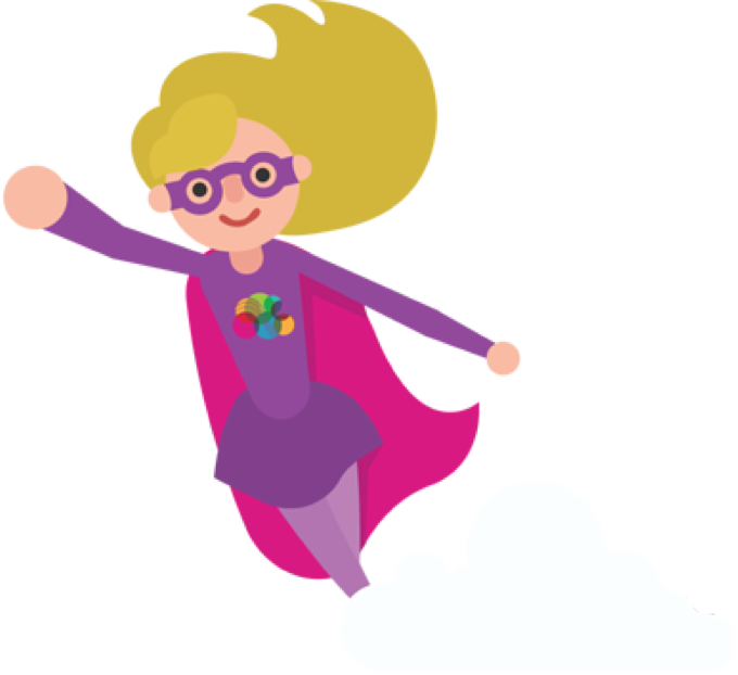 Pink superhero reaching out her right arm